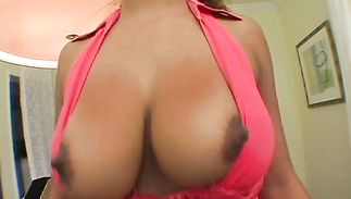 Lever loving aphrodisiac big breasted brown-haired beauty Jamie is grabbing her nice tits while riding buddy