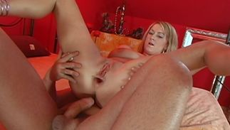 Sensual golden-haired Paris Lorenz with big tits and a dude she likes a lot are having wild sex