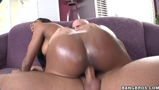 Fresh brown-haired Megan Vaughn with curvy tits loves jumping on thick phallus