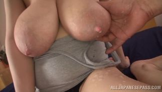 Beguiling playgirl Mio Sakuragi with firm tits cums hard while being gangbanged in all holes
