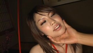 Spruce darling Haru Aoki with great tits is sucking a rock hard rod and riding it like a champion