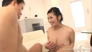Frisky bosomed Minako Komukai receives a huge pipe in her wet muff