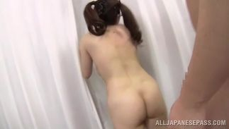 Ardent sweetie with attractive tits and she is sucking a prick