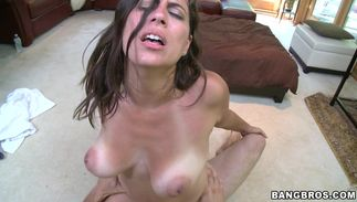 Sultry dark-haired beauty Sasha with large natural tits getting her wet cunt fucked deep and hard