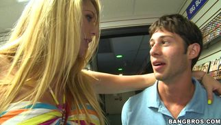 Astonishing blond gal Brynn Tyler with curvy tits and buddy have fuck session