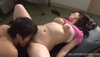 Raunchy chick Ayako Kirishima with gracious tits gets drilled sideways by man
