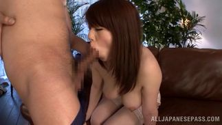 Amazing Maki Koizumi with huge tits knows how to suck a bulky fuck stick