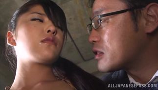 Enchanting maid Erika with great tits is a pro when she begins sucking