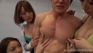 Charming Riko Honda with great tits is mad to bounce on python