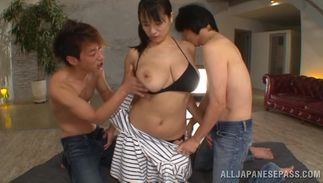 Passionate busty Hana Haruna is sucking a huge packing monster and licking booty while hunk is moaning