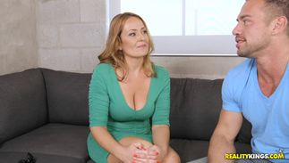 Filthy busty golden-haired Elexis Monroe is getting fucked in her sofa