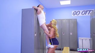 Extraordinary blonde playgirl Phoenix Marie with big tits receives a love rocket in her tight tunnel of love