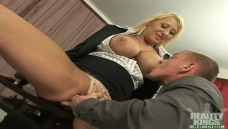 Engaging Candy Manson with large tits wraps her overweight lips around a nice boner